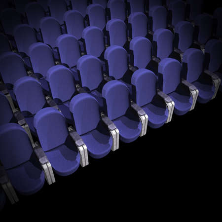 blue Seat at Movie Show (3D image)