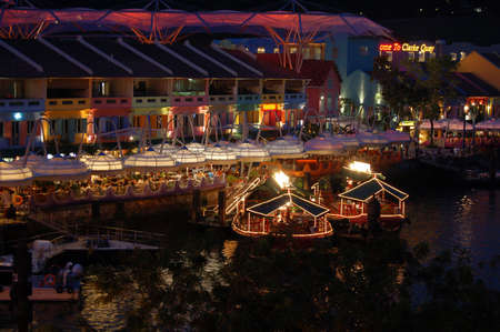 the quay: Clarke Quay in the night - Singapore