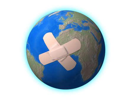 censo: Doily en el mundo. Conceptual imagen: salvar la Tierra.