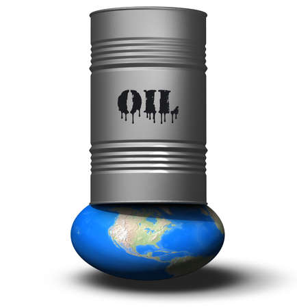 A drum of oil crushes the earth. Conceptual image: save the globe. Stock Photo