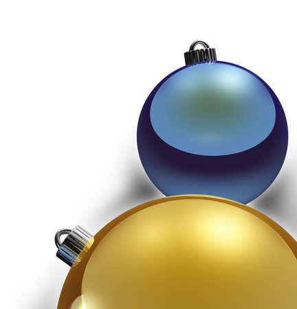 Christmas Border, metallic gold and blue xmas balls Stock Photo - 610961