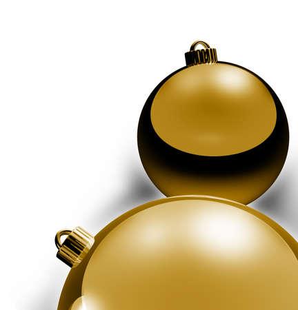 Christmas Border, metallic gold and blue xmas balls