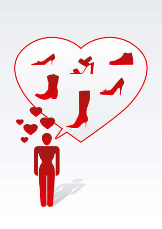 Woman love shopping shoes - red message photo