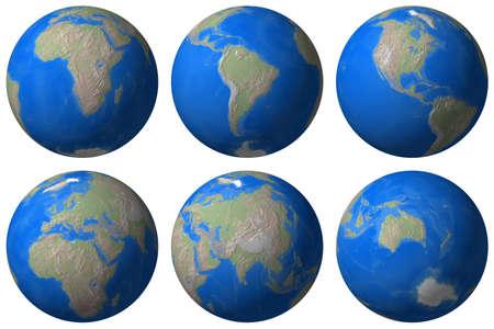 Mundo Globe - Tierra punto de vista diferente - aislados  Foto de archivo - 727066