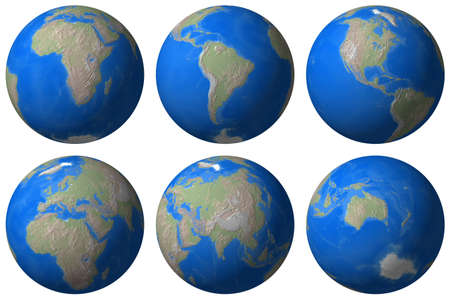 World Globe - Earth different view - isolated photo