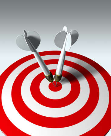 two arrows on red target - business concept Stock Photo - 730327