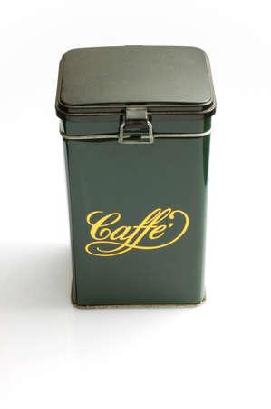 Green metallic coffee box - italian style photo