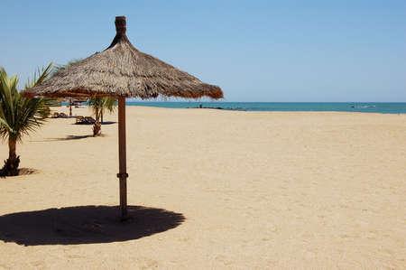 beach umbrella in the blue sky - summer time Stock Photo