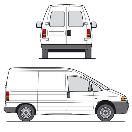 rear views: Delivery Mini Van - Layout for presentation - vector