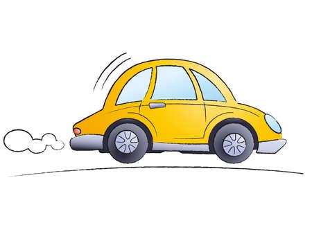 carro caricatura: Funny cartoon coche aislados sobre fondo blanco - Vector