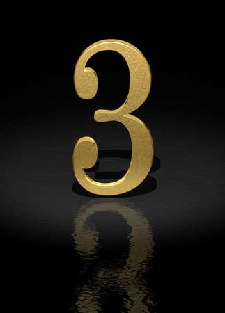 light reflex: 3 Gold Number on black background - 3d image