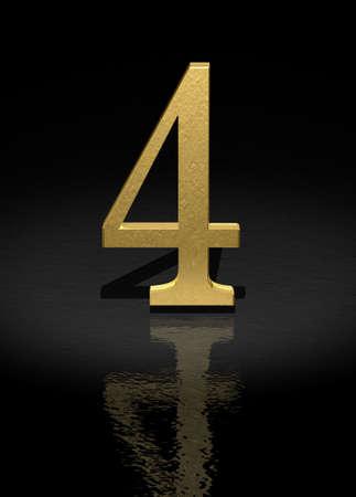 light reflex: 4 Gold Number on black background - 3d image Stock Photo