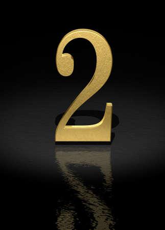 light reflex: 2 Gold Number on black background - 3d image Stock Photo
