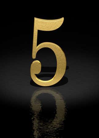 light reflex: 5 Gold Number on black background - 3d image