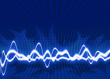 Energy waves - Blue background Stock Photo