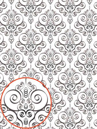 immagine gratuita: Damasco Stile pattern Background - BN texture - Vector Includi strato con il design pattern sorgente