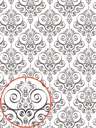Damask Style Pattern Background - BN texture - Vector Include layer whit pattern design source Stock Vector - 922376