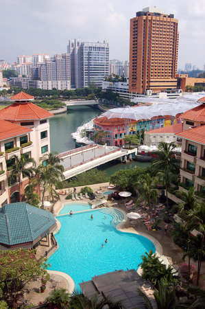 City River View - Swimming Pool - Clarke Quay - Singapore Editorial