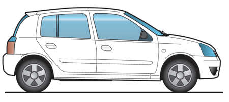 car side view: Compact Car - Layout for presentation - vector