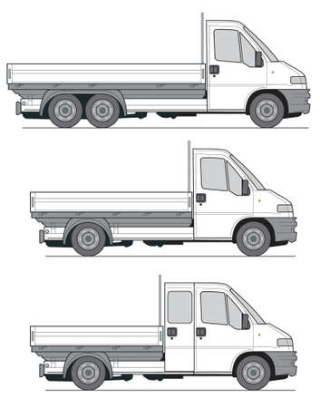 car side view: Delivery Van Truck - Layout for presentation - vector
