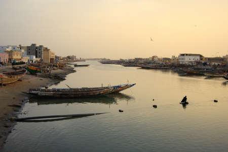 Sunset on the river, Saint Louis, Senegal Stock Photo