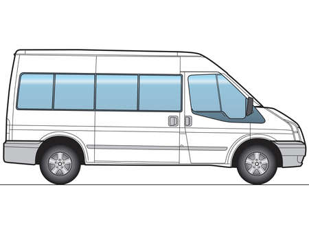 trafic: Minibus, bus - Layout for presentation - vector