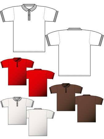 dress size: Polo T-shirt back and front - Layout for presentation - vector