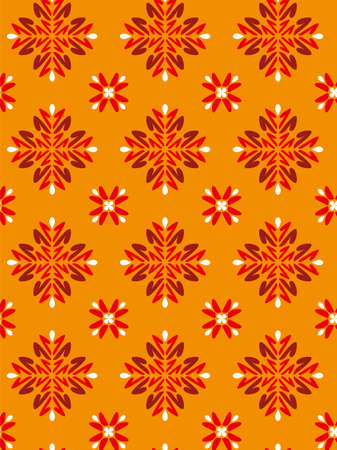 Floreal Foliage Pattern Background - Orange texture - Vector Include layer whit pattern design source Stock Vector - 2226505