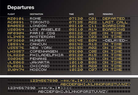 departures: Airport departures timetable - Vector file include layers whit letter source. Illustration