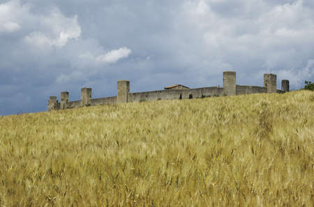 Tuscany Medieval Town in a wheat field - Monteriggioni - Italy photo