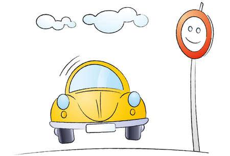 custom car: Funny cartoon car isolated on white background Stock Photo