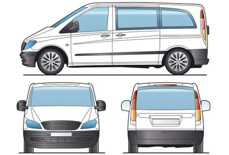 minibus: Minibus, bus, Taxi - Layout for presentation - vector Stock Photo