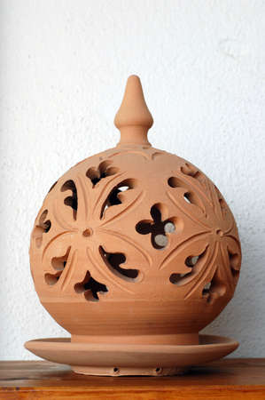 Traditional lamp, hand made ceramic clay, Handicrafts of Sicily Stock Photo - 3232008