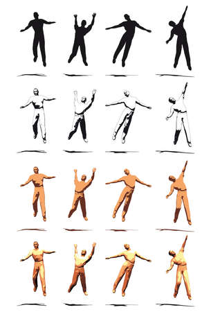 Dancer Jump silhouette various poses Stock Photo - 3721419