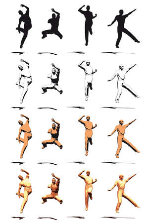 Dancer Jump silhouette various poses Stock Photo - 3721416