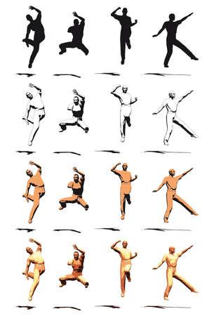 Dancer Jump silhouette vaus poses Stock Photo - 3721416