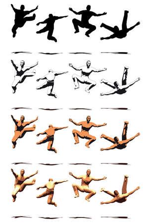 male ballet dancer: Dancer Jump silhouette various poses - VECTOR