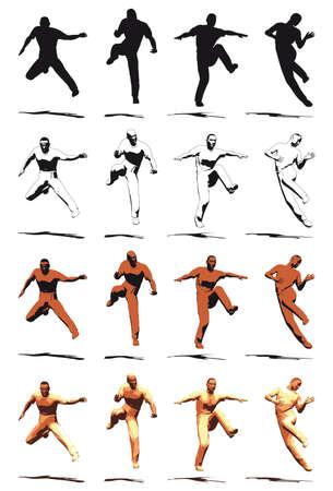 Dancer Jump silhouette vaus poses - VECTOR Stock Vector - 3737501