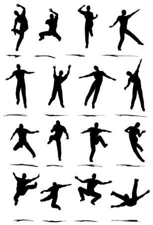 ballet hombres: Saltar bailar�n silueta plantea diversas - VECTOR