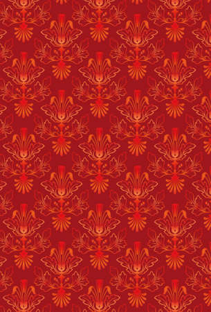 Damask Seamless Pattern Background - Red texture - Vector Include layer whit pattern design source Stock Photo