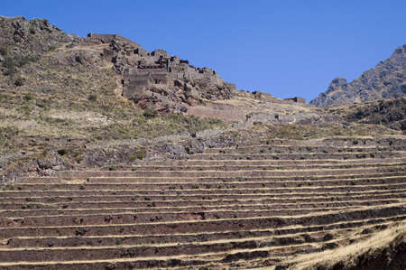 terracing: Pisac ruins - Peruvian Terraced Landscape in the Sacred Valley - Best of Peru Stock Photo