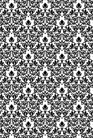 Damask Seamless Pattern Background - BW texture - Vector Include layer whit pattern design source Vector