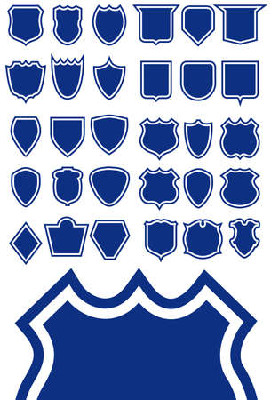 Shield shape template set - design element collection. Easy to edit.