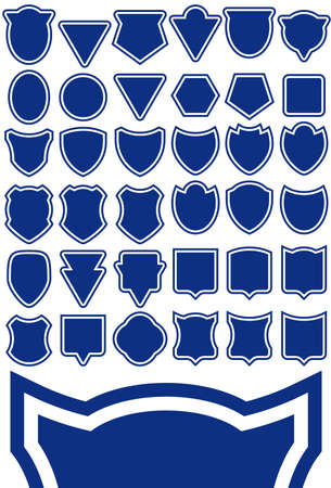 Shield shape template set - design element collection. Easy to edit. Vector