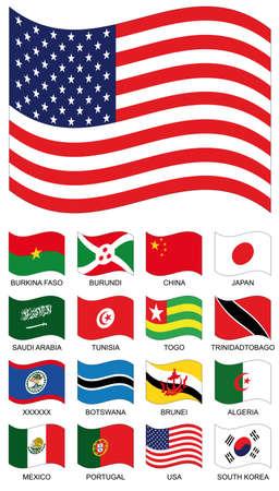 Flag Collection. Burckina faso, burundi, china, japan, saudi arabia, tunisia, togo, trinidad tobago, botswana, brunei, algeria, mexico, portugal, usa, south korea photo