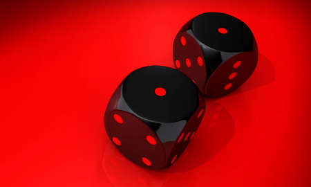 double bad: Double one - two black dice on red background Stock Photo