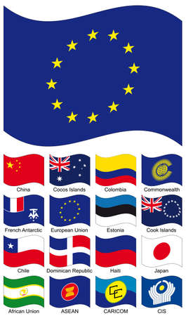 Vector Flag Collection. African Union, South-East Asian Nations ASEAN, Caribbean Community CARICOM, CHILE, CHINA, Cocos Islands, Colombia, Commonwealth Independent States CIS, Commonwealth, Cook Islands, Dominican Republic, Estonia, European Union, French Vector