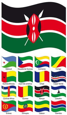 Vector Flag Collection. Cape Verde; Central African; CHAD; Comores; Congo; Djibouti; Equatorial Guinea; Eritrea; Ethiopia; Gabon; Gambia; Guinea-Bissau; Guinea; Kenya; Lesotho; Libyan Arab Jamahiriya Vector