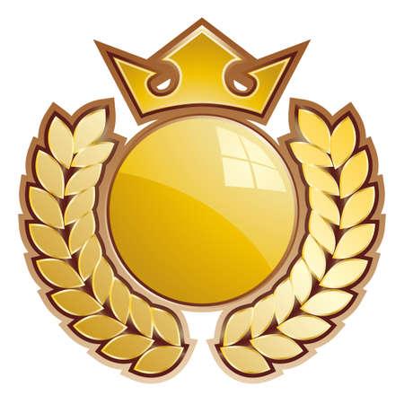 goldmedaille: Gold Kugel Shield - kleinste Teil Krone und Lorbeeren. Illustration