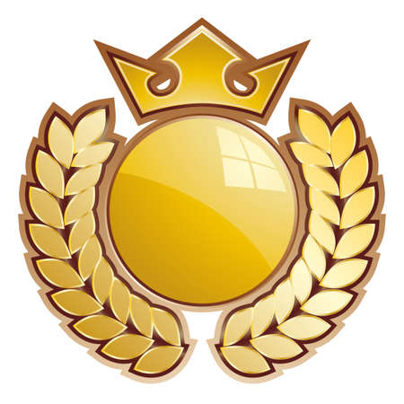 Gold sphere shield - whit crown and laurels. Vector